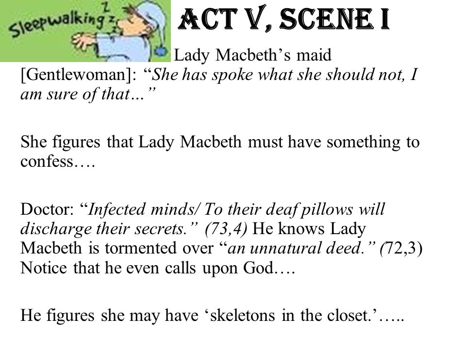 Act v, Scene i Lady Macbeth's maid [Gentlewoman]: She has spoke what she should not, I am sure of that…